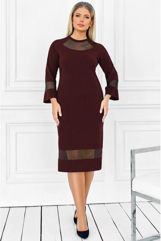 однотонное платье, платье с сеткой